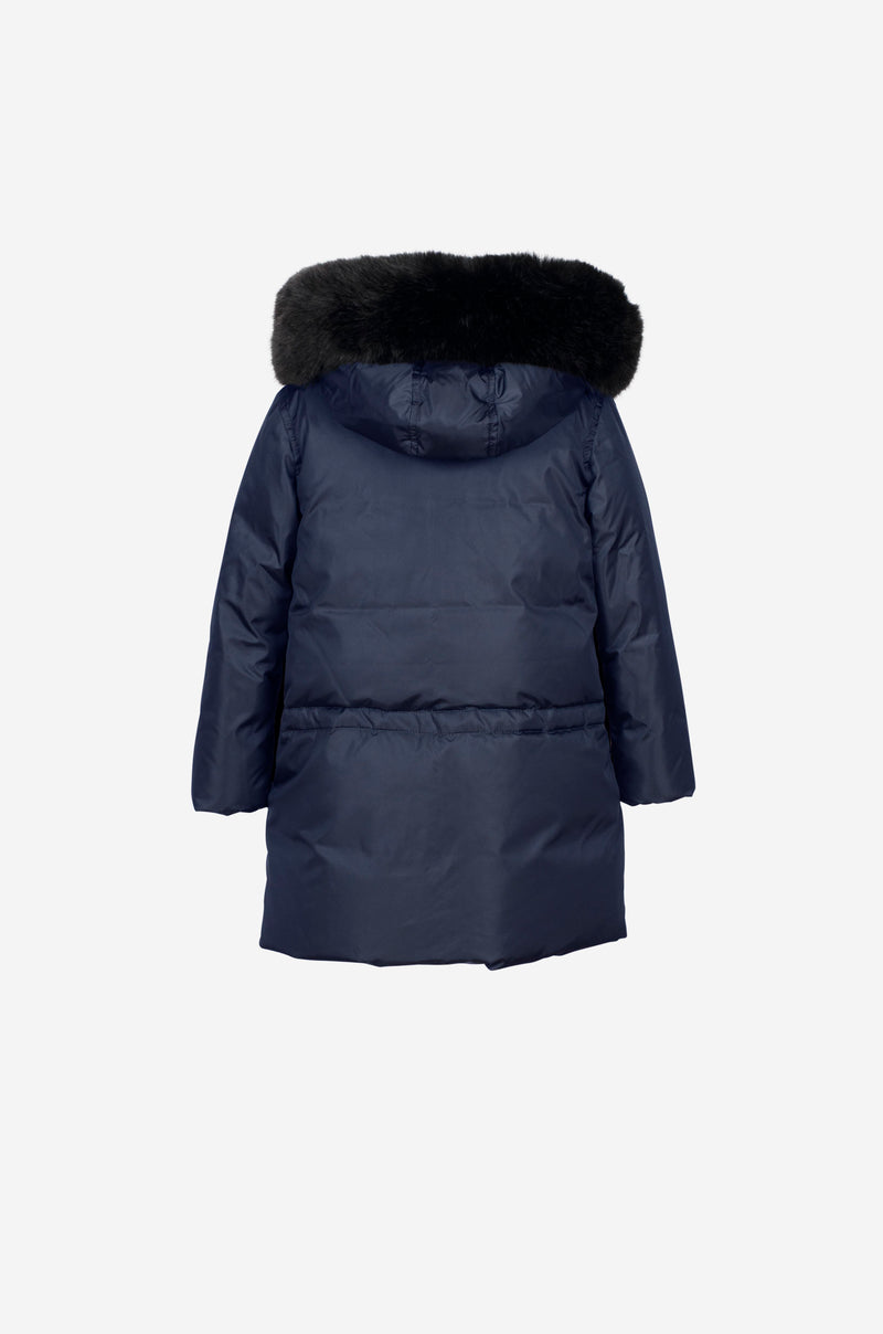Girls Down Parka with faux fur in midnight blue