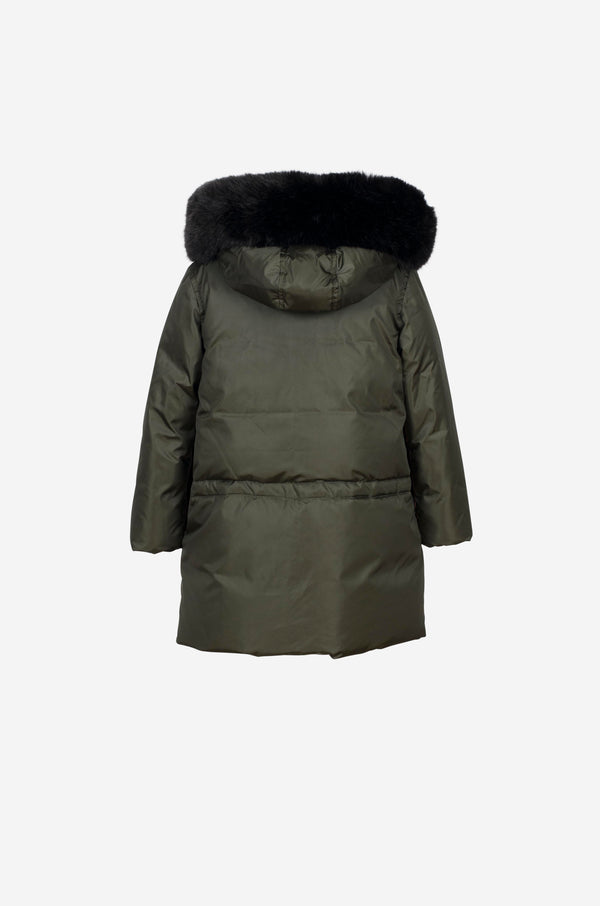 Girls Down Parka with faux fur in dark green