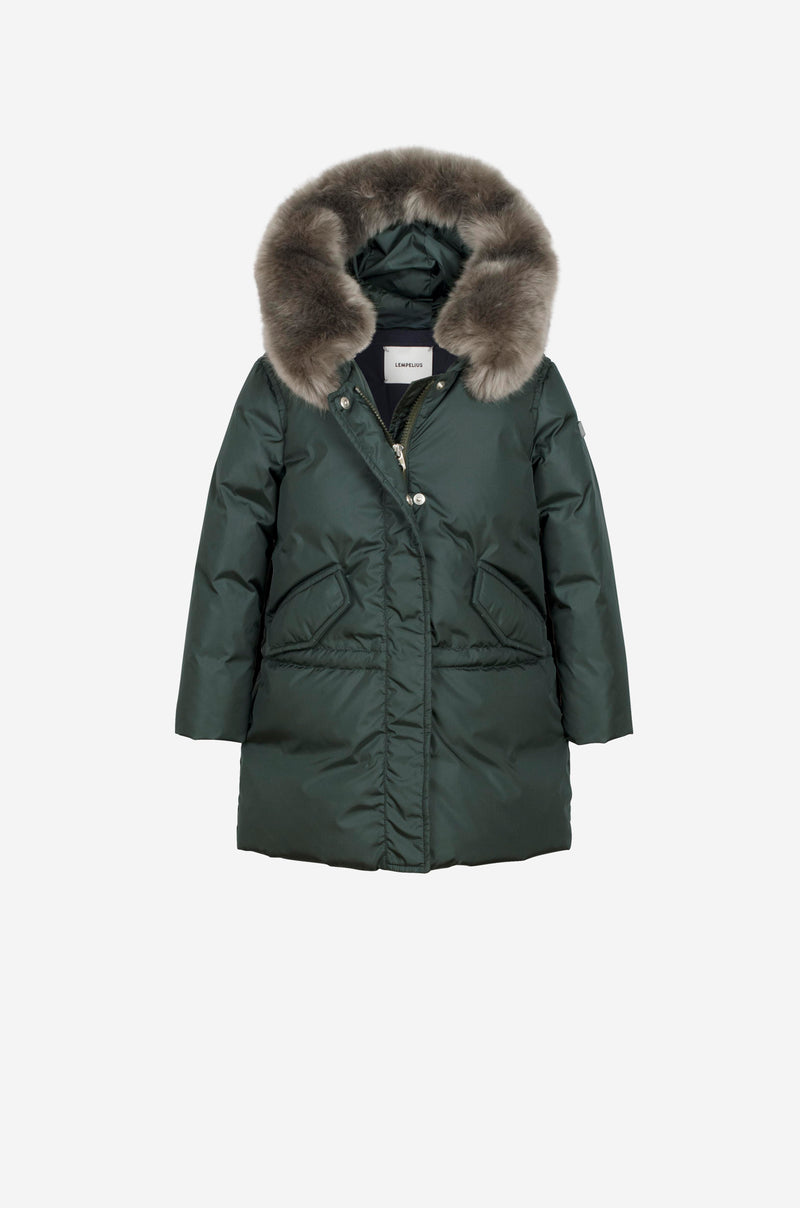 Girls Down Parka with faux fur in bottle green