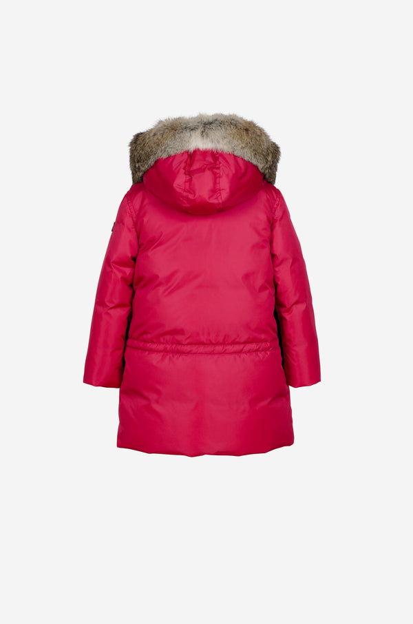 Girls Down Parka with rabbit in spicy pink