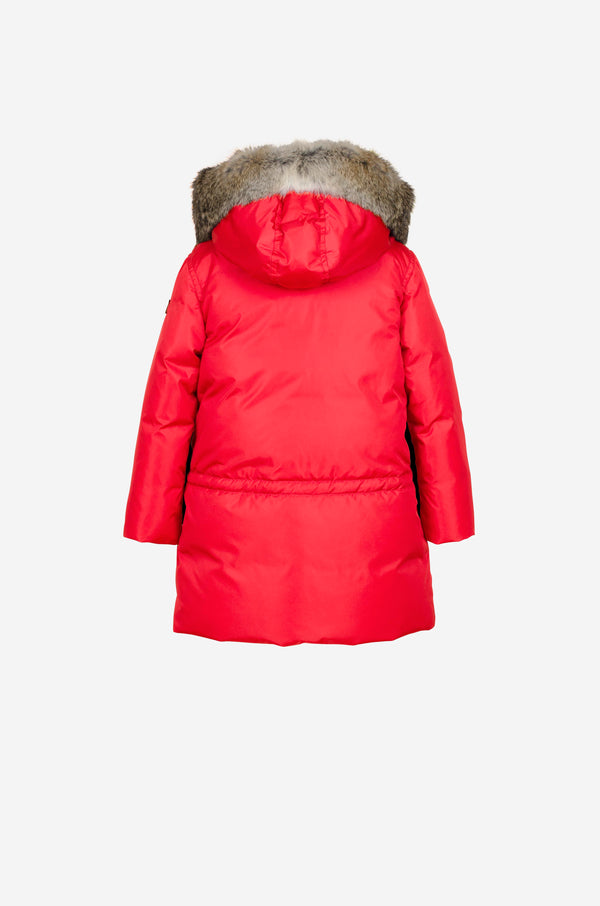 Girls Down Parka with rabbit in bright red