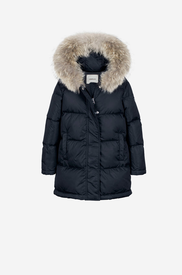 Girls Down Parka with coyote in dark blue