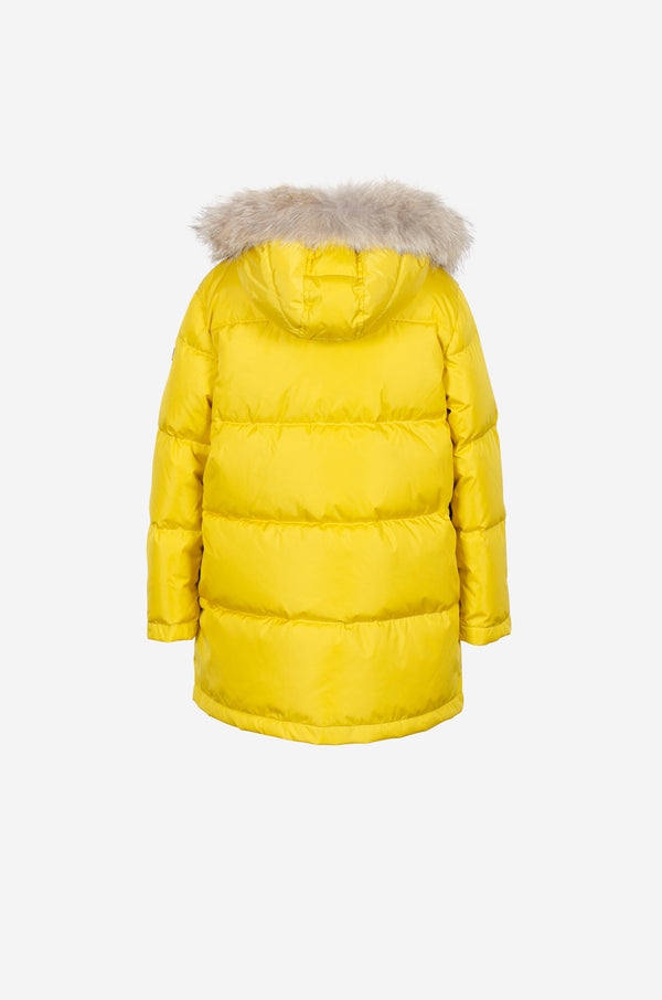 Girls Quilted Down Parka with coyote in true yellow