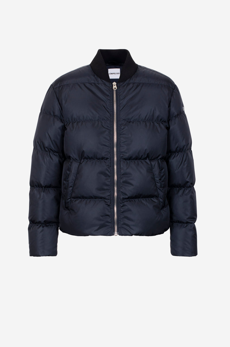 Bomber-Style Down Jacket in dark blue