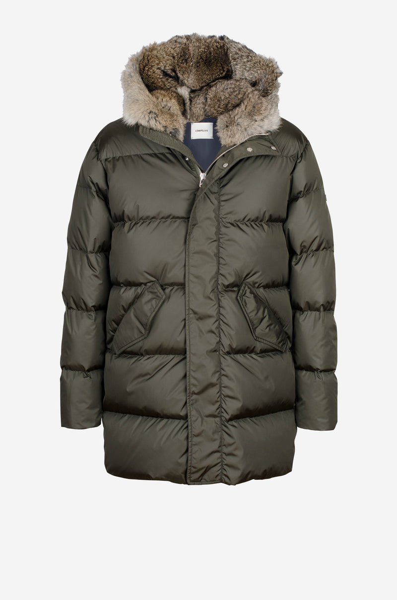 Quilted down Coat with rabbit fur hood in dark green