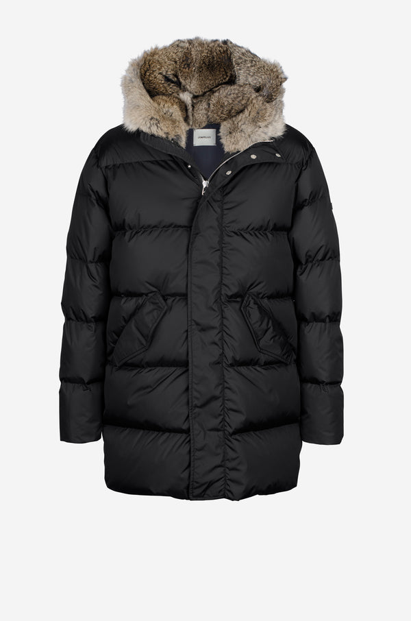 Quilted down Coat with rabbit fur hood in black