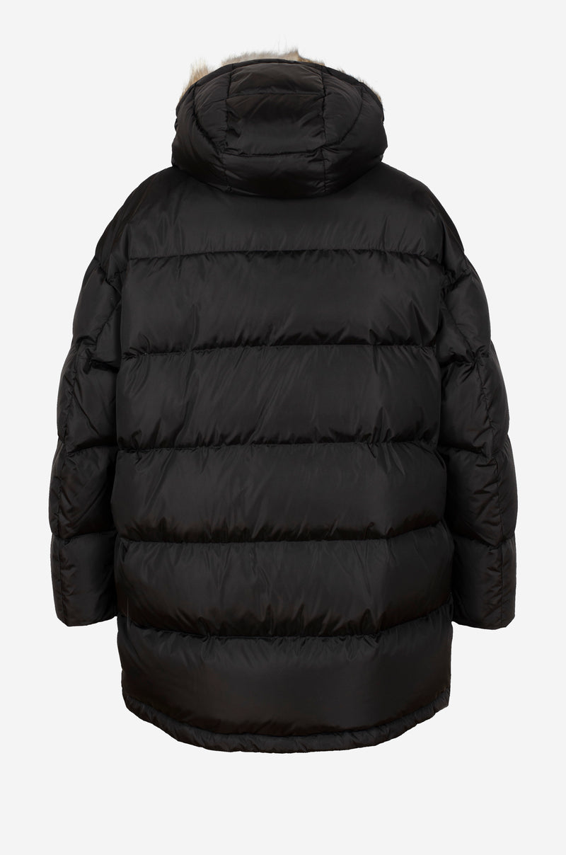 Oversized Down Parka with rabbit fur hood in black