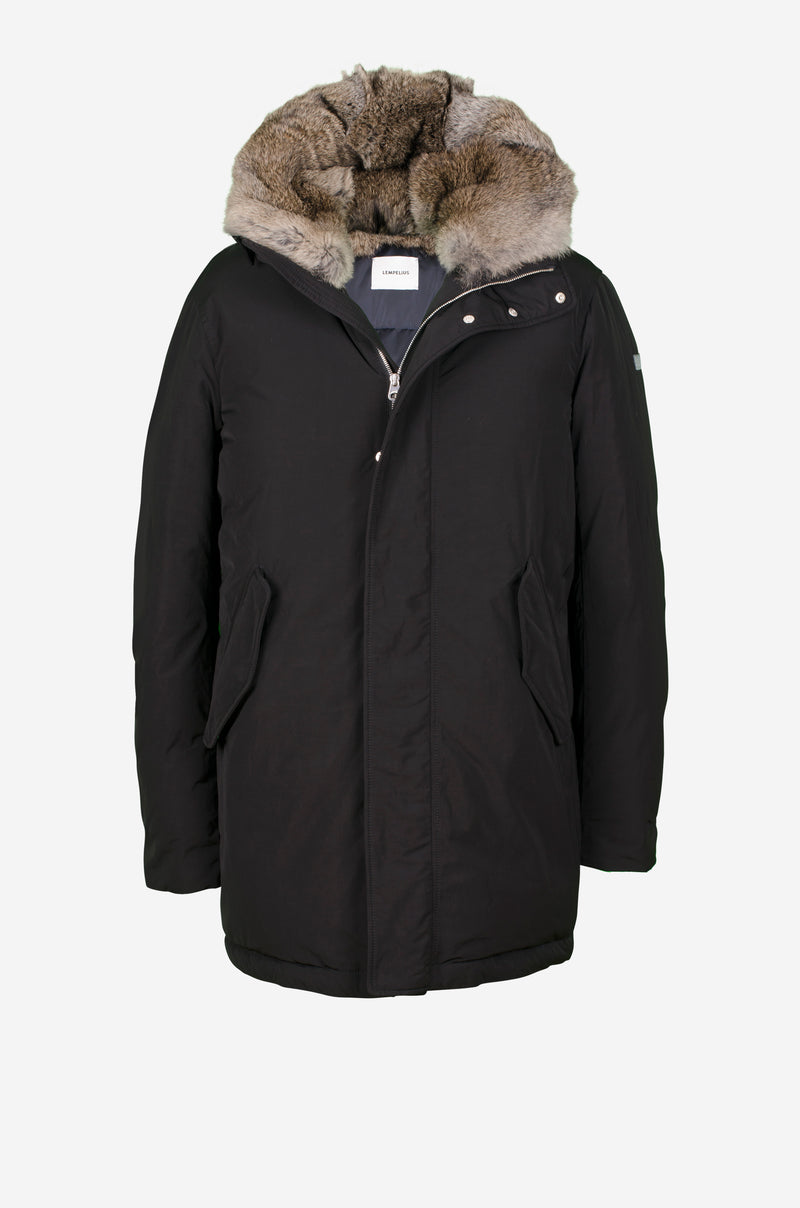Down Parka with rabbit fur hood in black