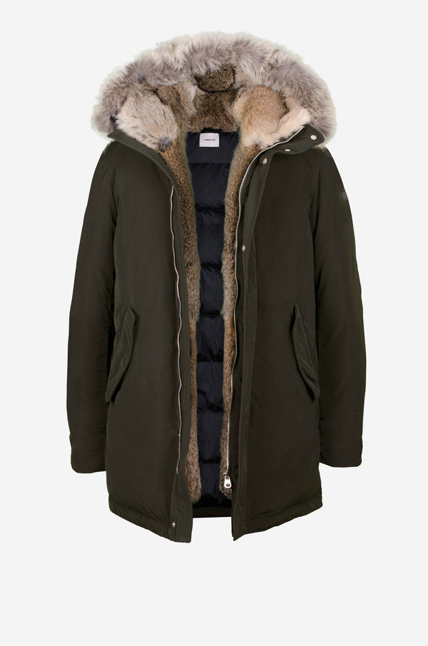 Down Parka with rabbit fur facing and coyote in dark green