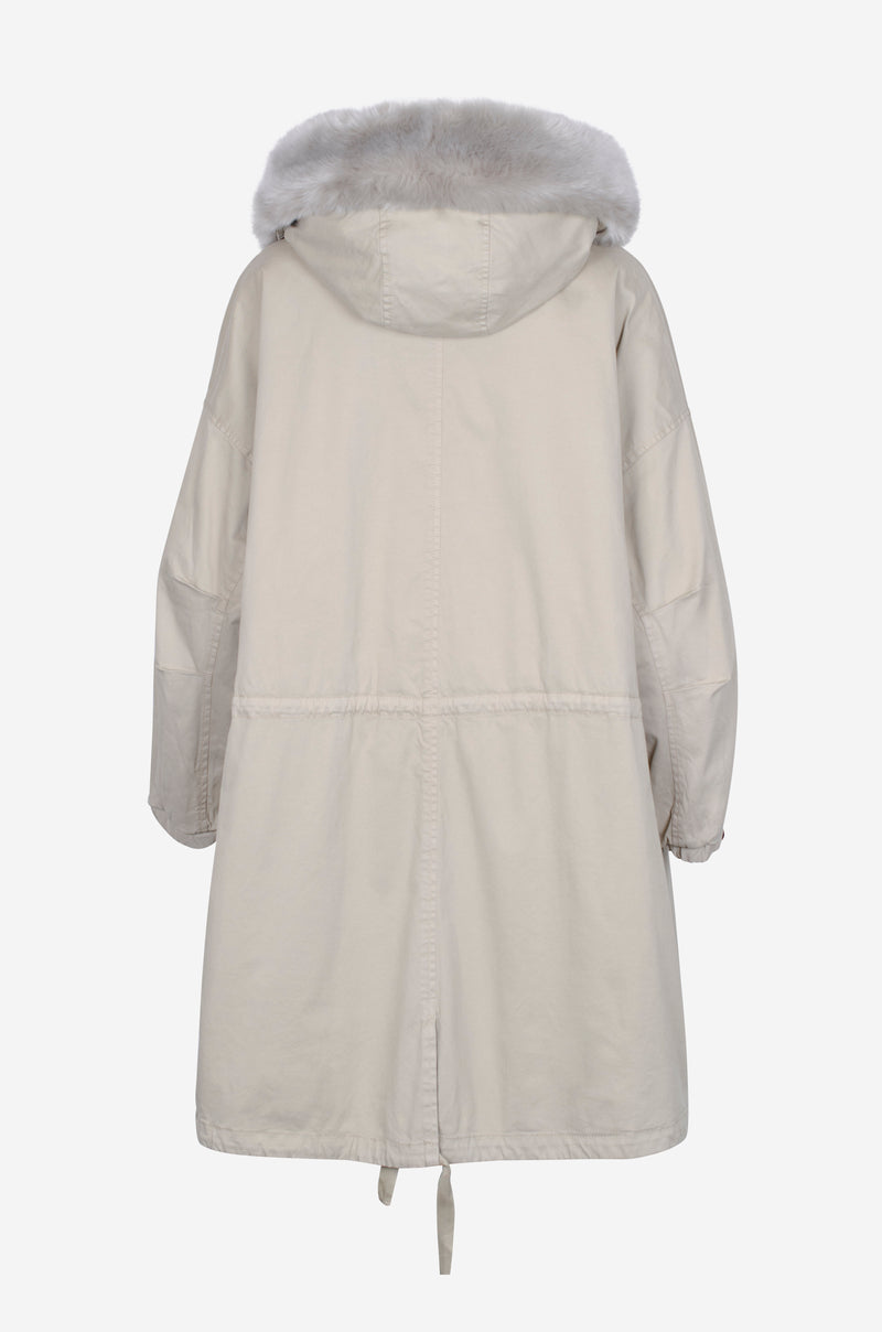 Long Oversized Cotton Parka in chalk
