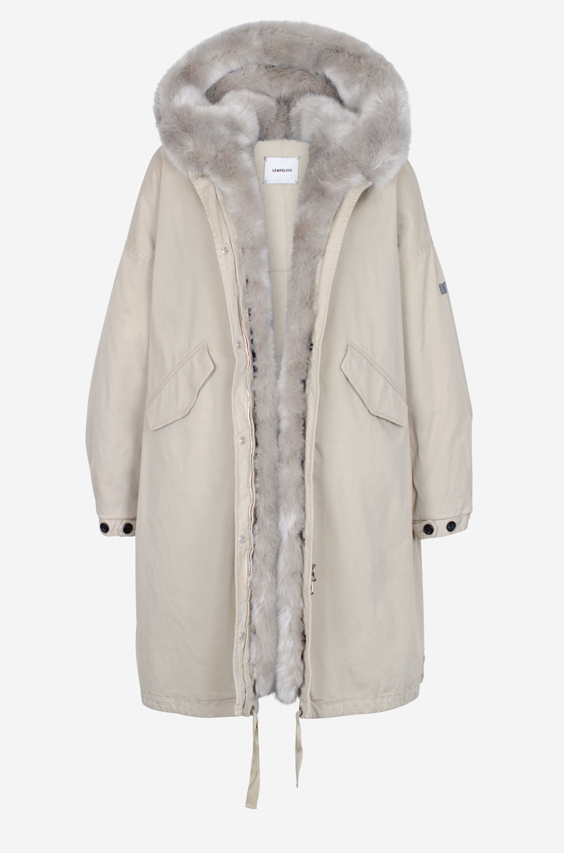 Long Oversized Cotton Parka with faux fur in chalk