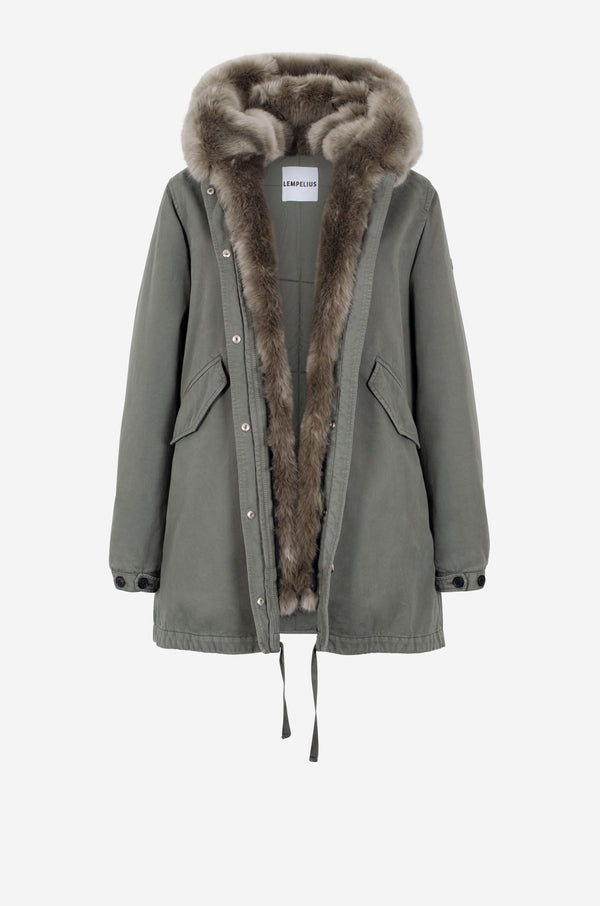 Short cotton Parka in military green