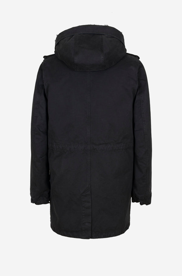Army Parka with full shearling lining in black