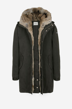 Army Parka with rabbit fur facing in dark green
