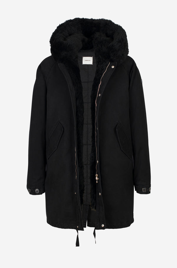 Casual Cotton Parka with shearling facing in black