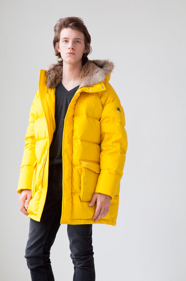 Oversized Down Parka with rabbit fur hood in true yellow