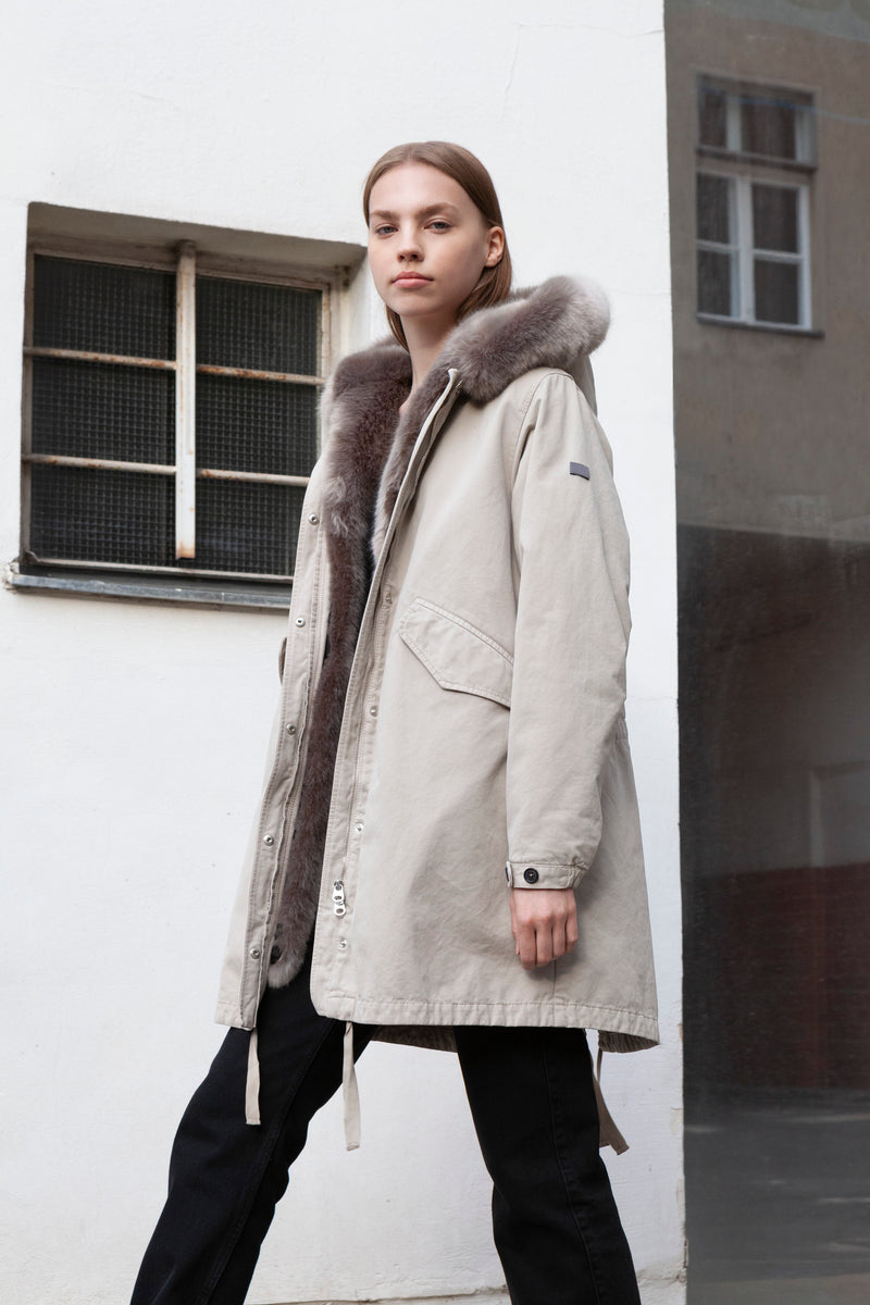 Cotton Parka in chalk
