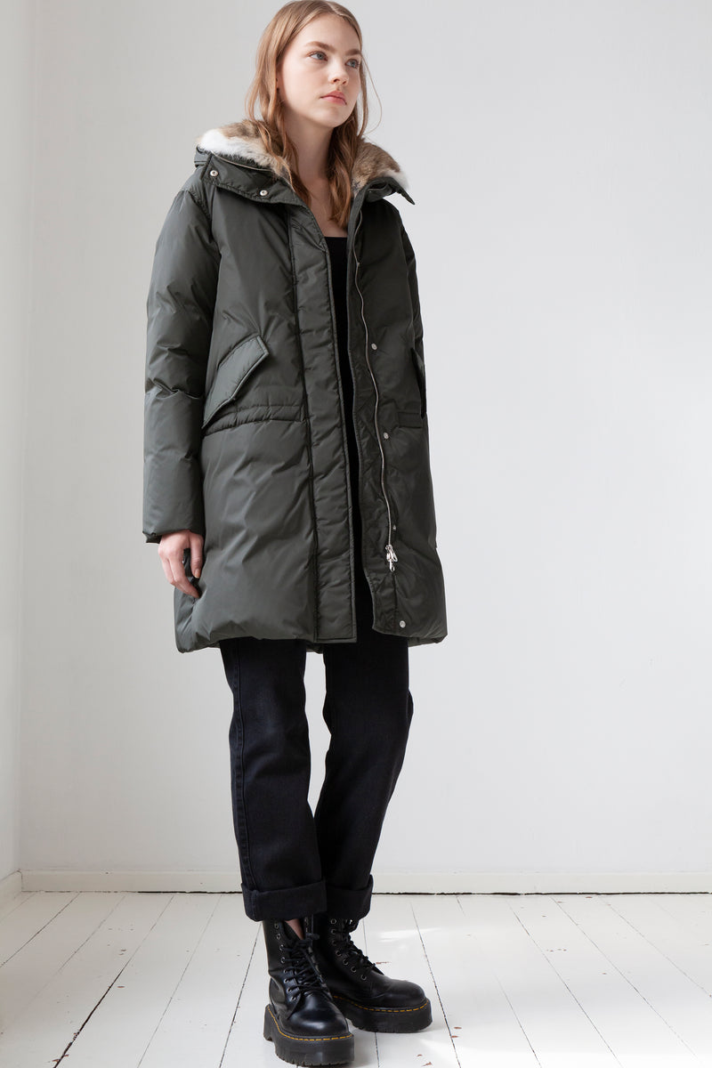 Down Parka in carbon grey