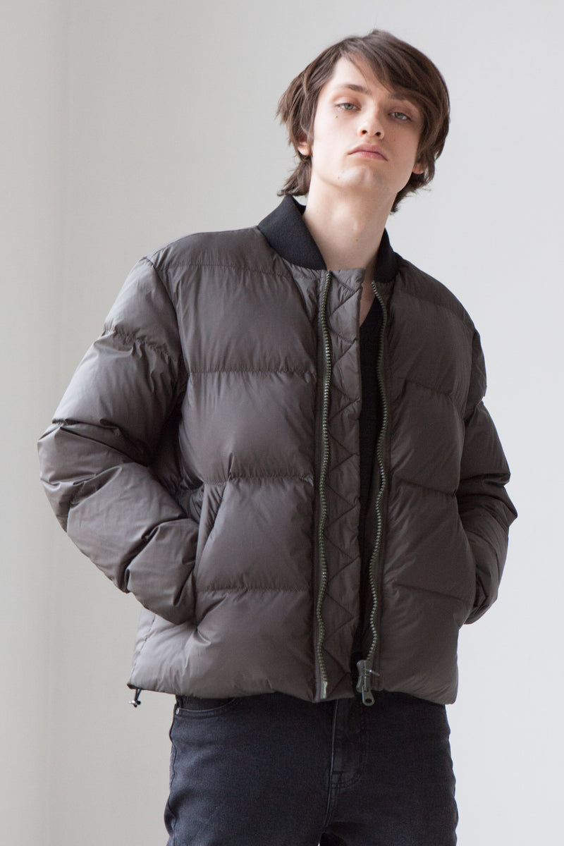 Bomber-Style Down Jacket in deep green
