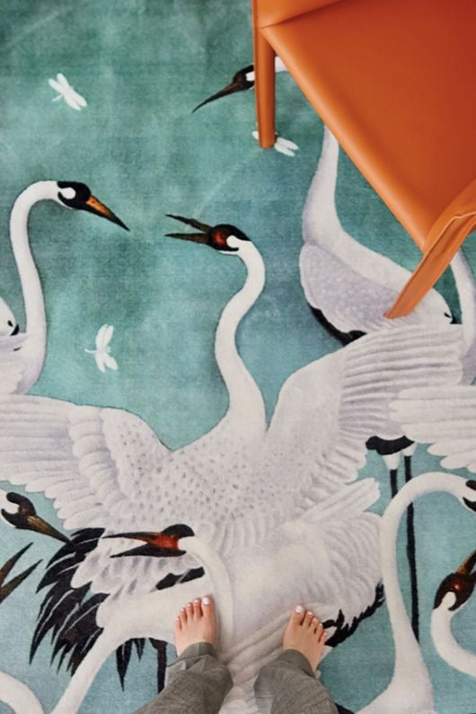 Heron Crane Wool Carpet