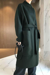 Row Open-Front Wool-Cashmere Coat Ink Green