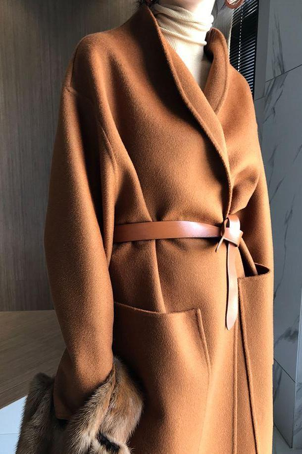 Row Open-Front Wool-Cashmere Coat Caramel