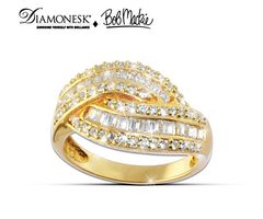 "Bob Mackie ""Golden Glamour"" Diamonesk Ring"