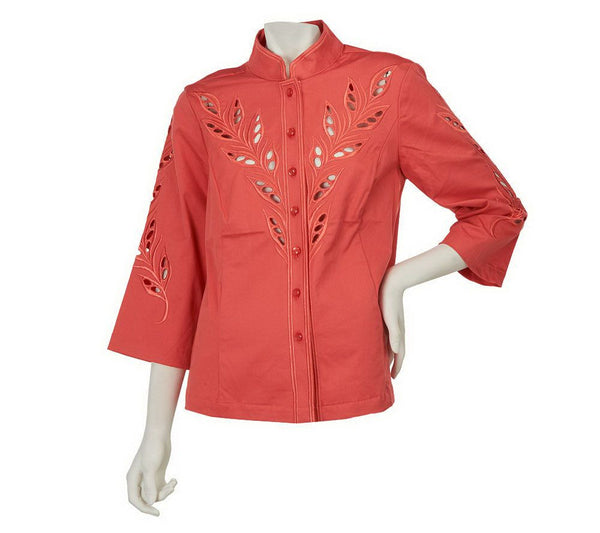 Bob Mackie's Open Front Cut-Out Embroidery Jacket