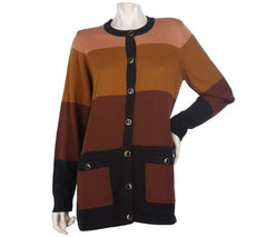 Bob Mackie's Long Sleeve Button Front Colorblock Cardigan