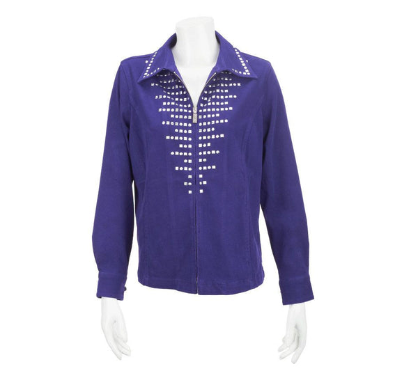Bob Mackie's Smart Denim Zip Front Jacket with Stud Detail