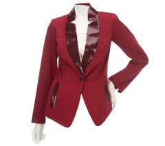 Bob Mackie's One Button Ponte Blazer w/Sequin Detail and Pockets