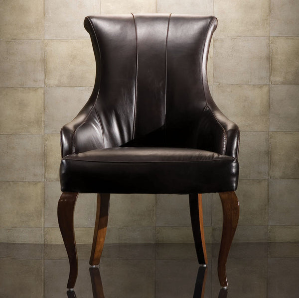 Bob Mackie Home Signature Leather Upholstered Arm Chair - Set of 2