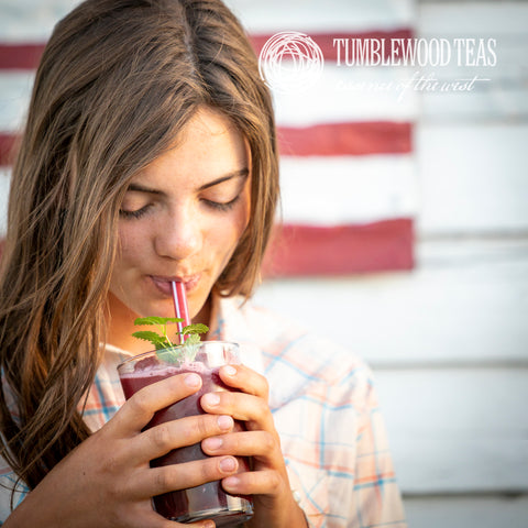 Blended Berry Bouquet summer iced drink with Tumblewood Tea.