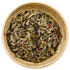 Green tea with blueberry, elderberry, hibiscus, spearmint, and licorice root