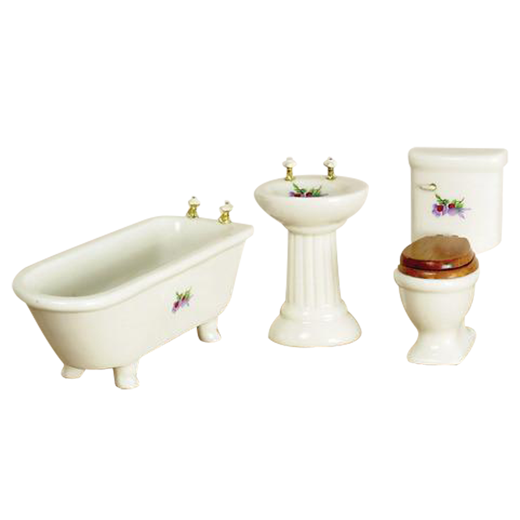 1 Inch Scale Simple Flower Dollhouse Bathroom Set