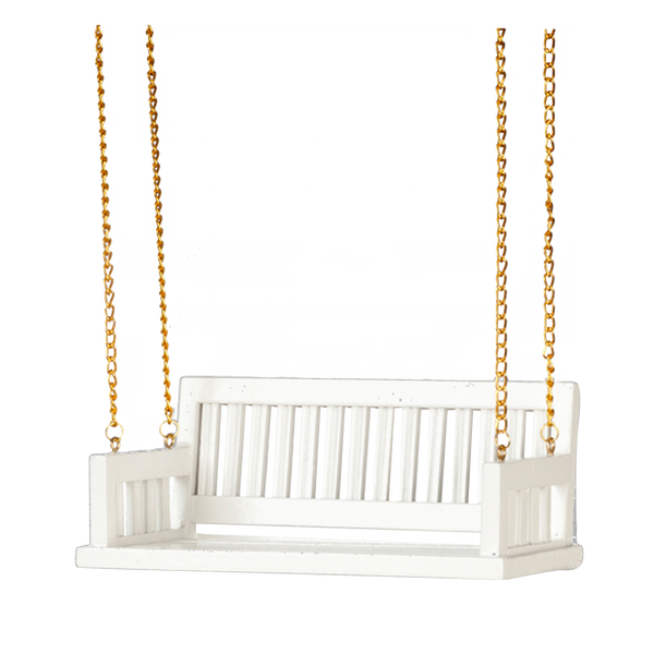 1 Inch Scale Dollhouse Miniature White Porch Swing