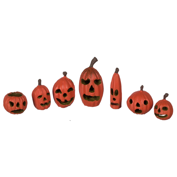 1 Inch Scale Dollhouse Miniature Halloween Pumpkins Set of 7
