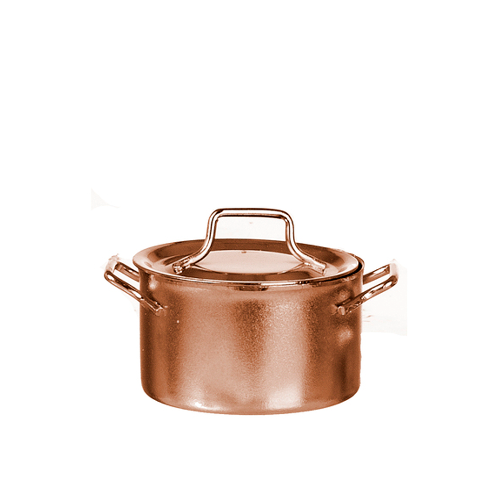 1 Inch Scale Large Copper Pot with Cover Dollhouse Miniature