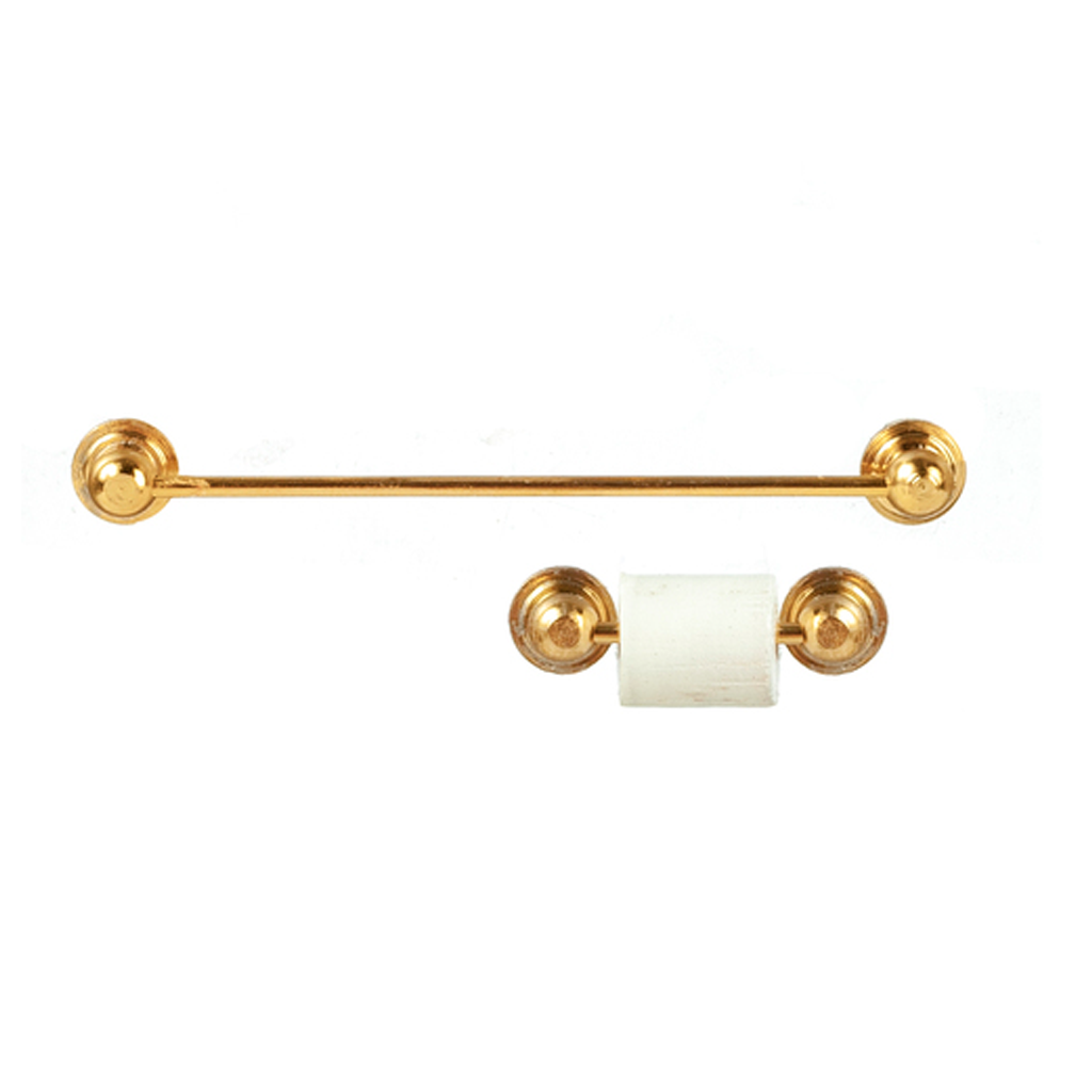 1 Inch Scale Dollhouse Miniature Brass Towel and Toilet Paper Holder