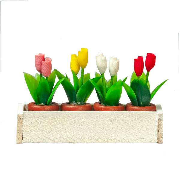 1 Inch Scale Small White Window Box with Potted Tulips Dollhouse Miniature