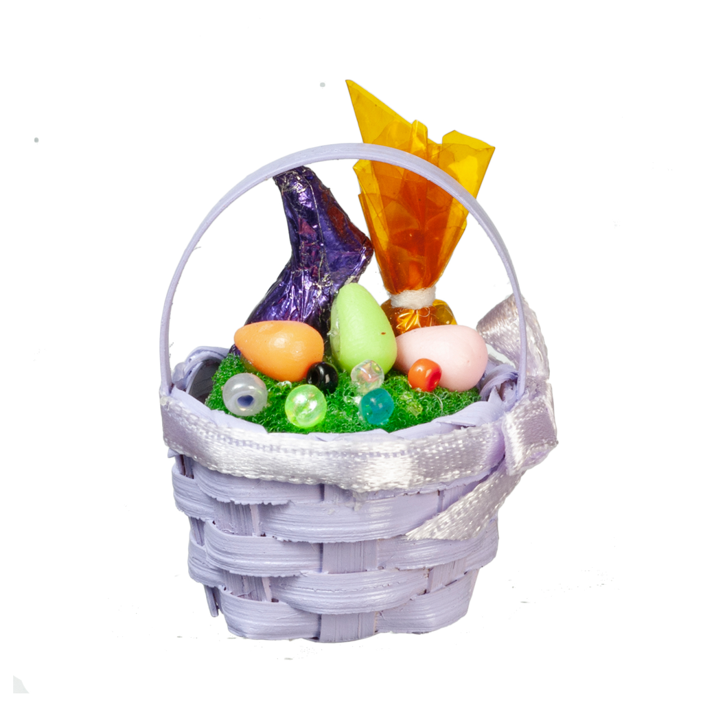 Decorated Lavender Easter Basket Dollhouse Miniature