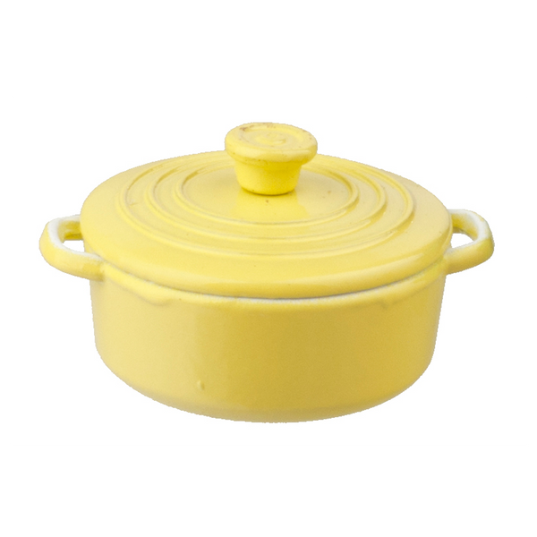 1 Inch Scale Yellow Dutch Oven Dollhouse Miniature