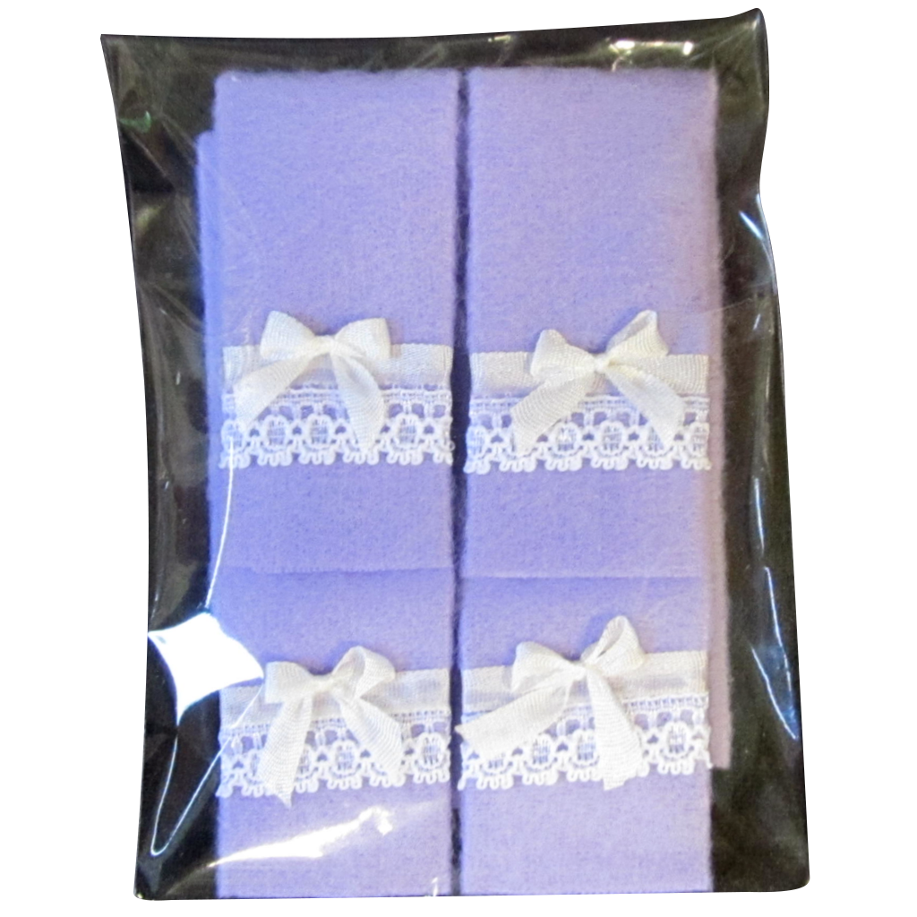 1 Inch Scale Lavender Bath Towels with Bow and Lace Details Dollhouse Miniature