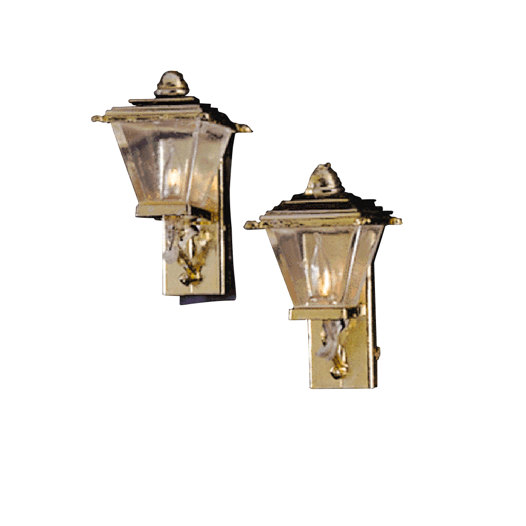 Pair of Gold Coach Lamp Dollhouse Miniature Electrical Light