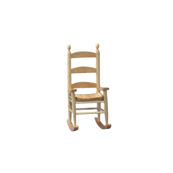 1 Inch Scale Dollhouse Miniature Oak Rocking Chair