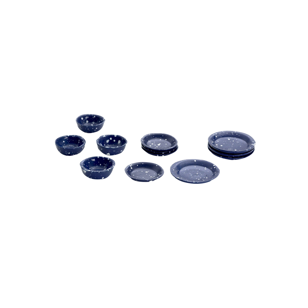 1 Inch Scale Blue Spatter Dollhouse Dish Set