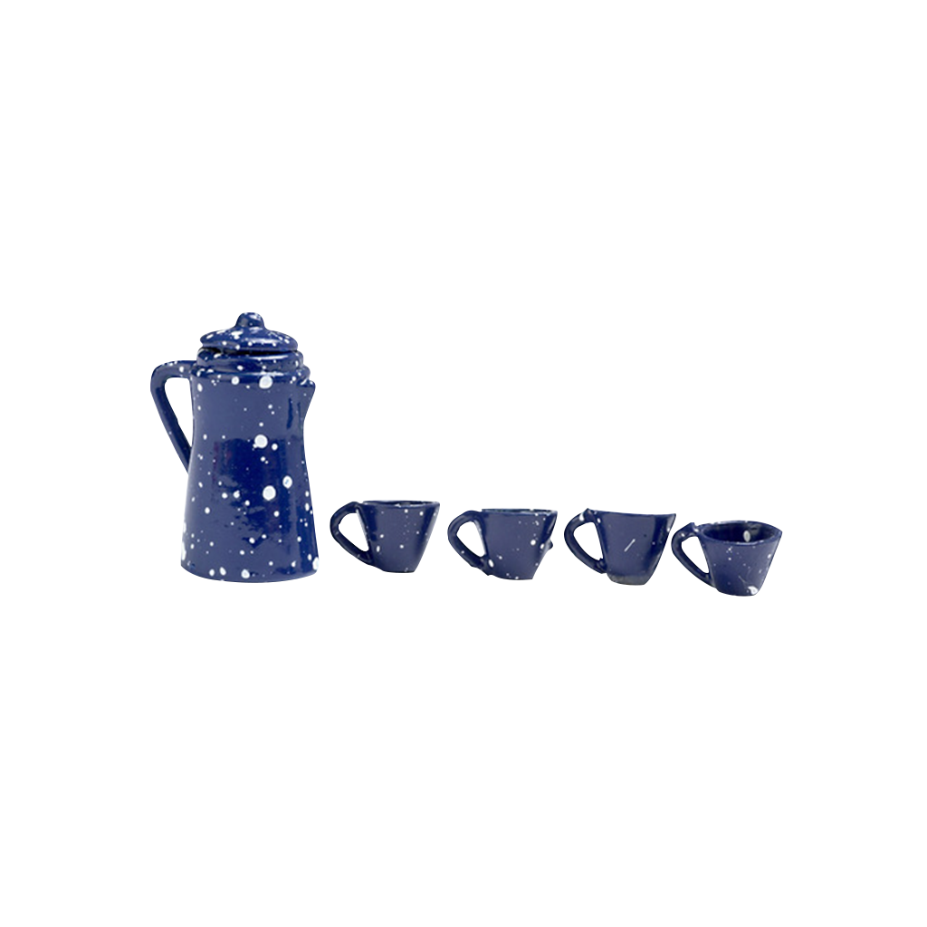 1 Inch Scale Blue Spatter Dollhouse Coffee Set