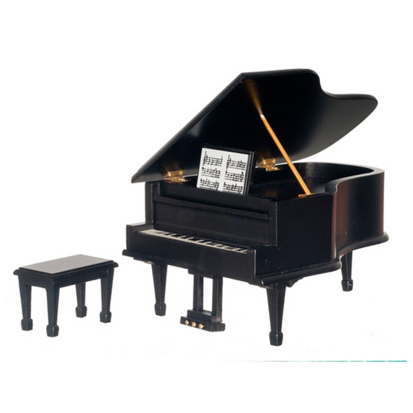 1 Inch Scale Dollhouse Miniature Black Grand Piano with Bench