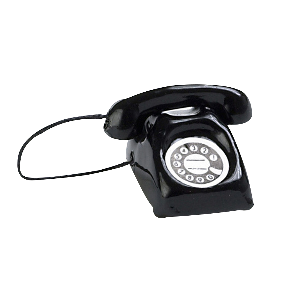 1 Inch Scale Black Telephone Dollhouse Miniature