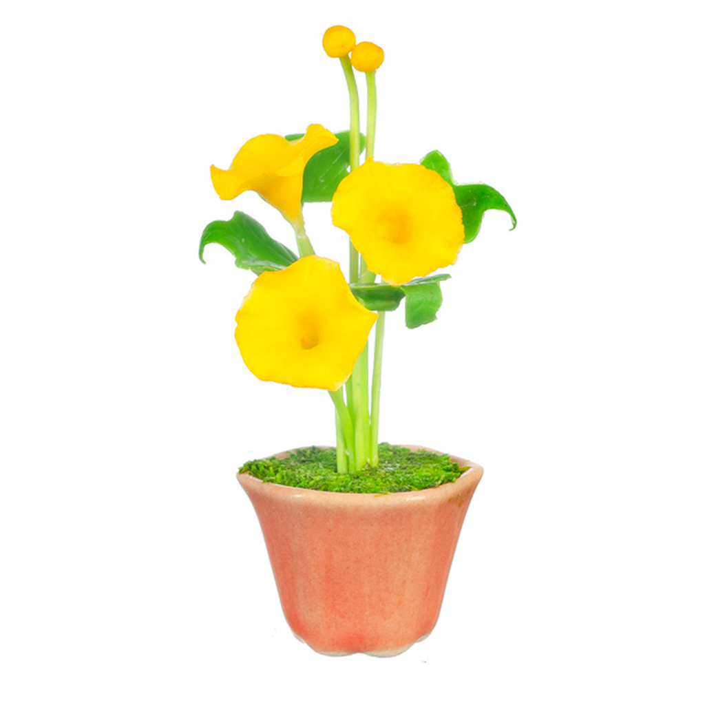 Yellow Morning Glory Flowers in a Pot Dollhouse Miniature